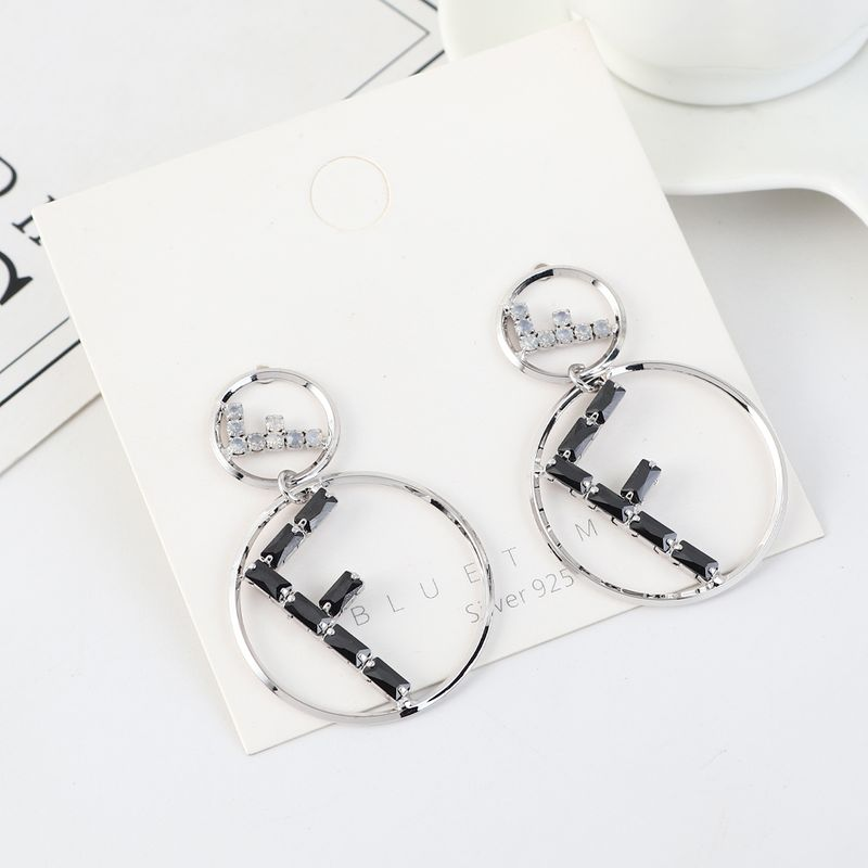 Korean personality fashion creative real gold-plated atmosphere letter F large circle S925 silver needle NHPS203157