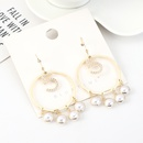 Korean fashion goldplated retro pearl large circle hollow earrings wholesales yiwu suppliers china NHPS203163