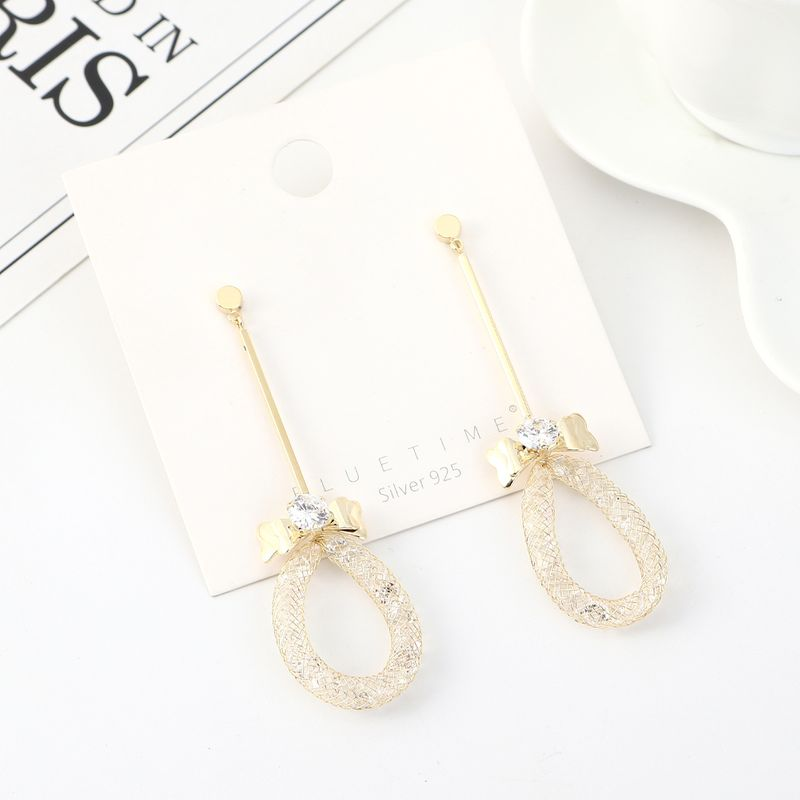 New Fashion Gold Plated Mesh Bow Tassel S925 Silver Pin Earrings NHPS203173