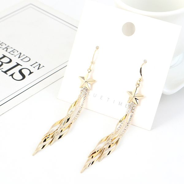 New fashion wild gold-plated tassel small five-star earrings NHSE203194