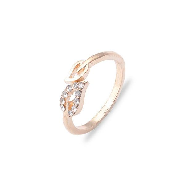 Korean jewelry wholesale fashion flash diamond love ring leaf rhinestone peach heart adjustable joint ring suppliers china NHDP202826