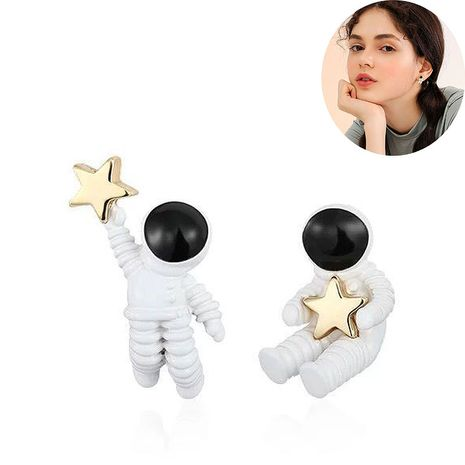 Fashion earrings cute astronaut small simple earrings NHSC203462's discount tags