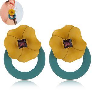 Aretes de botón de flores simples y dulces NHSC203461's discount tags