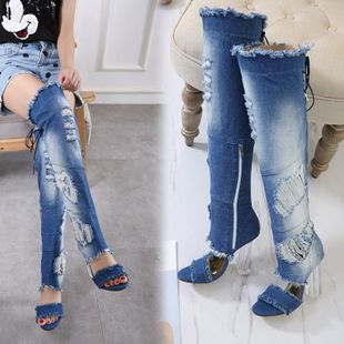 New women's shoes rough heel frayed denim fringed high heel sandals wholesales yiwu suppliers china NHSO203232's discount tags