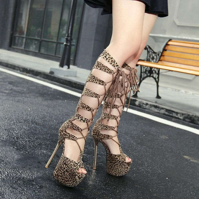 New women's shoes sexy leopard print sandals with stiletto super high heel waterproof platform fish mouth women NHSO203240