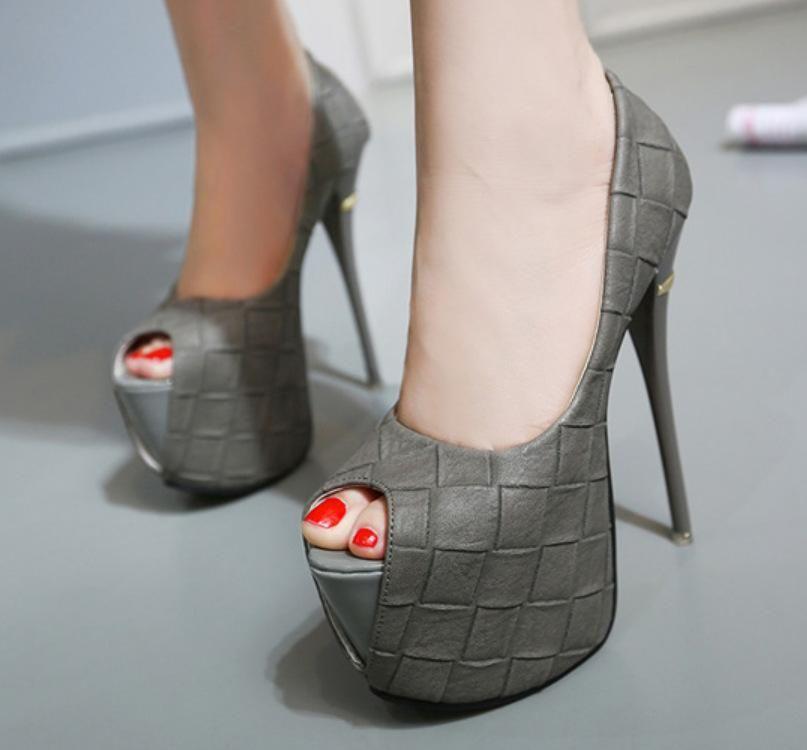 New women's shoes stone pattern stiletto heel waterproof platform fish head single shoes NHSO203242