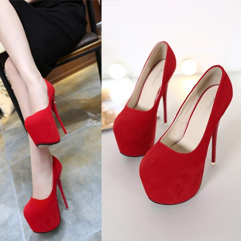 New stiletto super high heel shallow platform round toe single shoes NHSO203245
