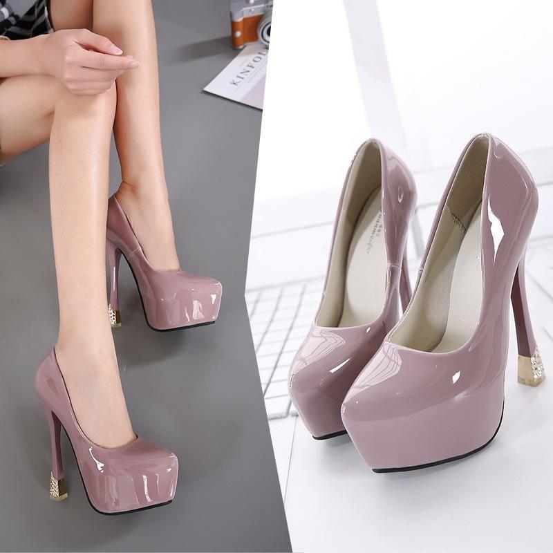 New women's shoes stiletto heel patent leather waterproof platform single shoes NHSO203247