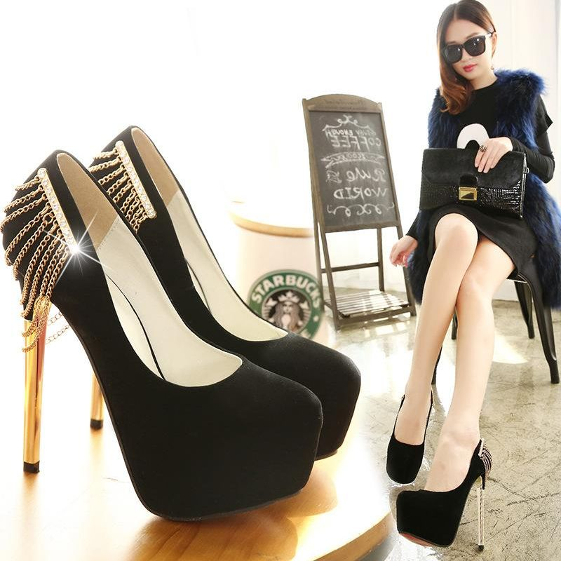 New women's shoes stiletto heel shallow platform round head metal chain single shoes NHSO203248