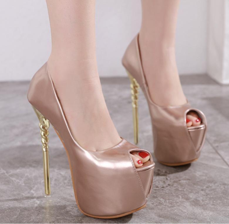 New women's shoes ultra-high stiletto shallow platform waterproof fish head single shoes NHSO203253