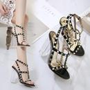 Nuevos zapatos de mujer sandalias de punta abierta con tachuelas de tacn alto y cristales gruesos NHSO203258