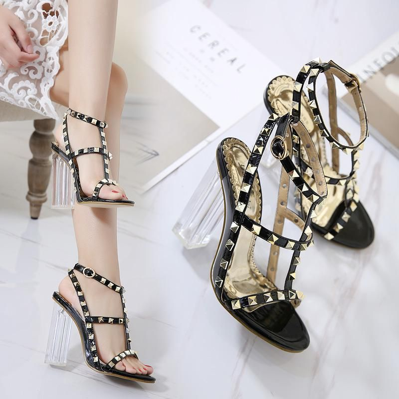 New women's shoes crystal thick high-heeled studded open toe sandals NHSO203258