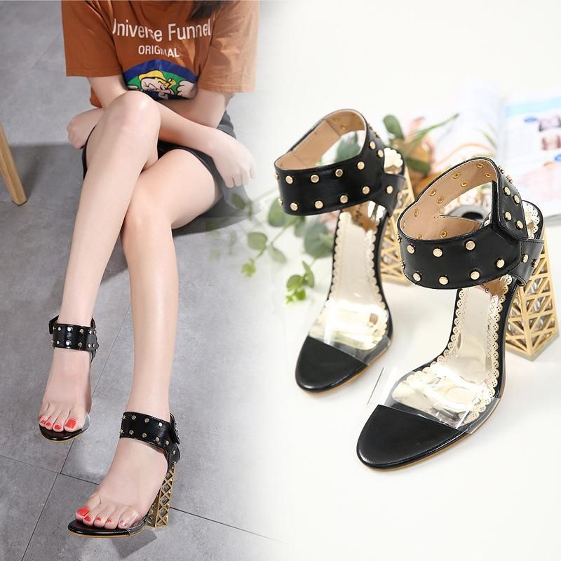 New Women's Shoes Crystal Thick Heel Rivet High Heel Transparent Sandals NHSO203261