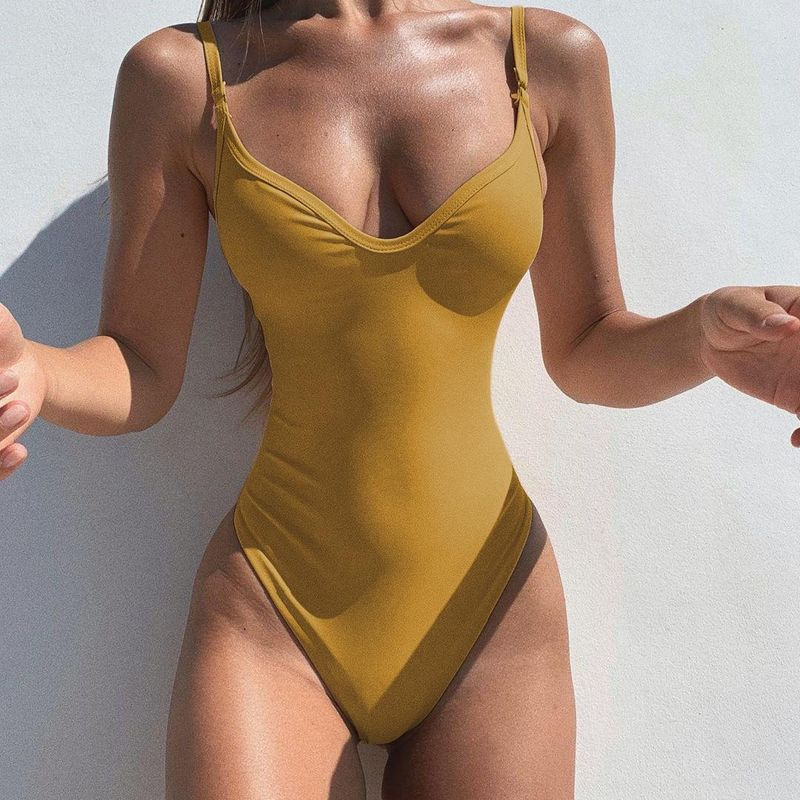 Sexy Bikini New Solid Color One-Piece Swimsuit Multicolor Swimsuit NHHL203267