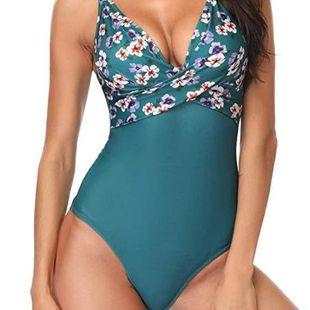 Nuevo traje de baño de una pieza con estampado digital para mujer Bikini Cross Chest NHHL203287's discount tags