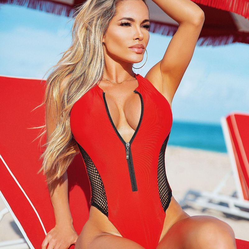 New 4 color mesh one-piece bikini with fat and enlarged swimsuit NHHL203290
