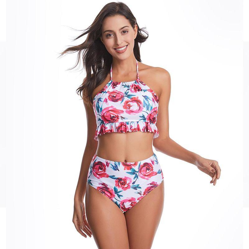 Bikini split printed swimsuit sexy bellyband fungus high waist bikini NHHL203304
