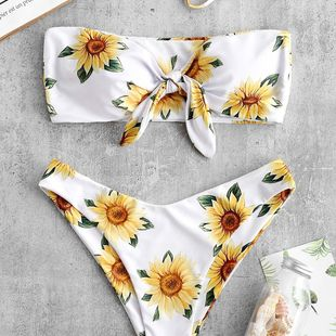 Traje de baño de bikini dividido sexy top de tubo estampado sun flower triángulo bikini traje de baño NHHL203307's discount tags