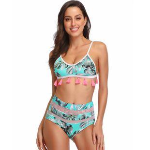 Nuevo traje de baño explosiones impreso bikini dividido con flecos huecos para mujer NHHL203319's discount tags