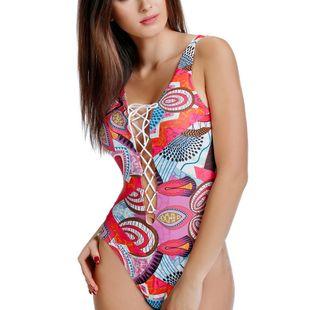 Nuevo traje de baño para mujer estampado de una pieza nuevo traje de baño de gran tamaño NHHL203327's discount tags