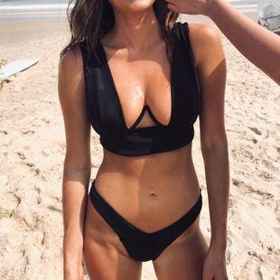Traje de baño Nuevo Bikini Sexy Impreso Underwire Gathering Split Mujeres NHHL203332's discount tags