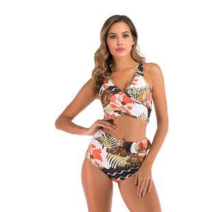 Nuevo traje de baño femenino sentido impresión digital deportes cintura alta traje de baño bikini dividido traje de baño de mujer NHHL203349's discount tags