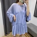 Wholesale Women39s Spring And Summer New Loose Bat Sleeve Skirt Pleated Dress NHAM203351