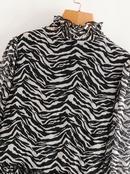 Vestido estampado con costuras de falda corta de manga larga con cuello alto de primavera para mujer al por mayor NHAM203359