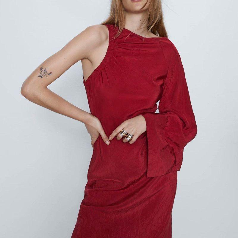 Fashion dress for women spring asymmetric midi dress wholesale NHAM203360