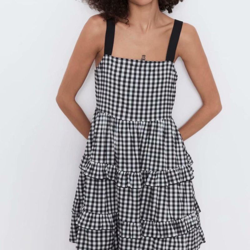Fashion dress for women wholesale contrast color shoulder strap plaid dress NHAM203362