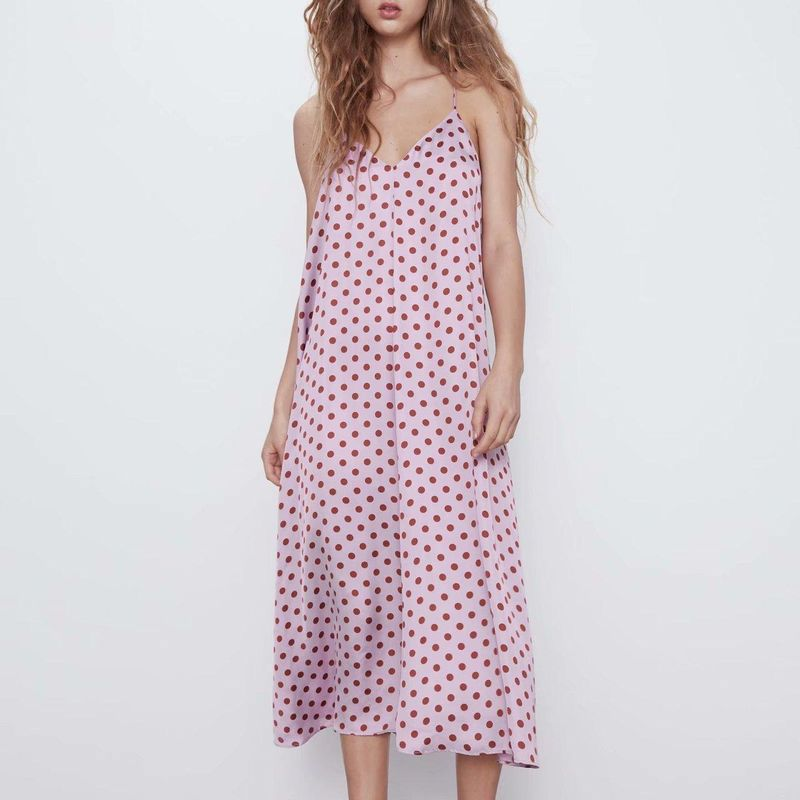 Fashion dress for women wholesale women summer wave dot dress female loose strap dress NHAM203364