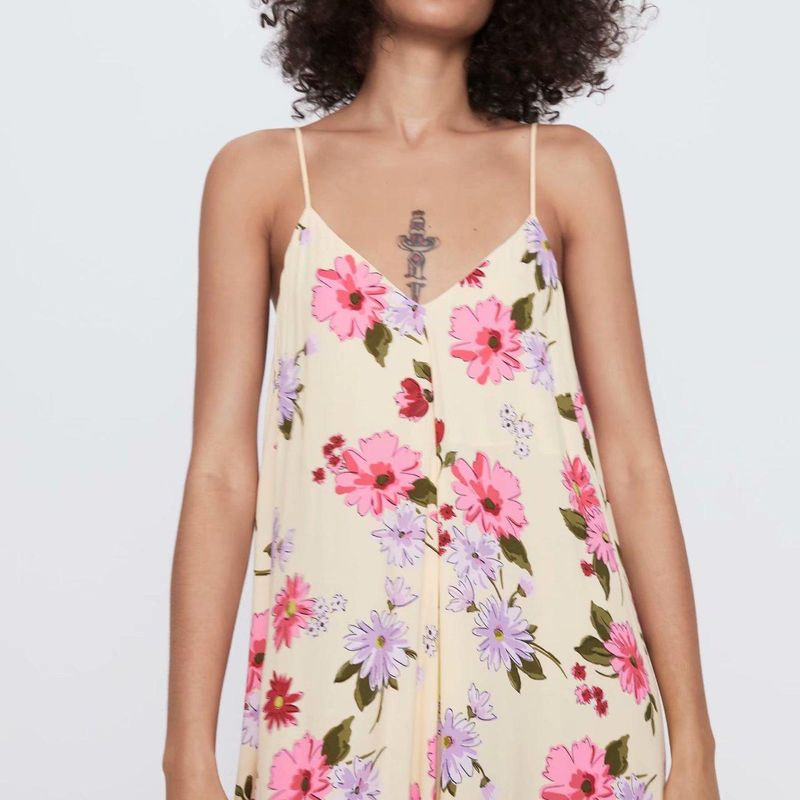 Wholesale new women's flower print camisole dress NHAM203381