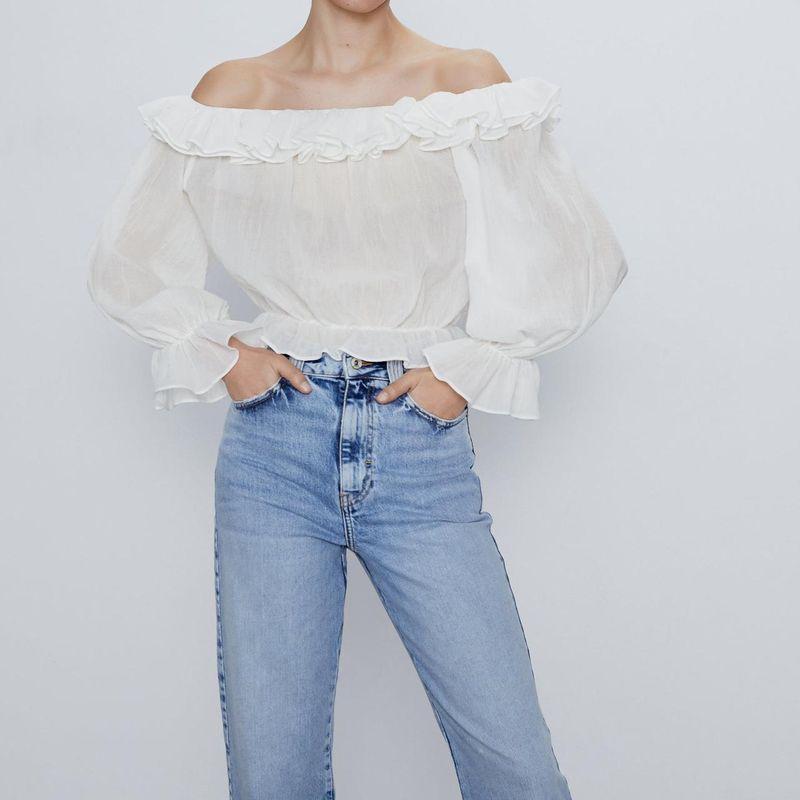 Spring new women's fashion wild ruffle trim shirts wholesale NHAM203383