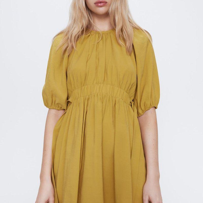 Wholesale Women's New Round Neck Puff Sleeve Side Waist Bow Dress NHAM203396