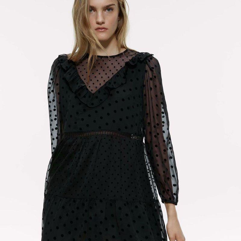 Wholesale Spring Polka Dot Mini Long Sleeve Dress NHAM203400