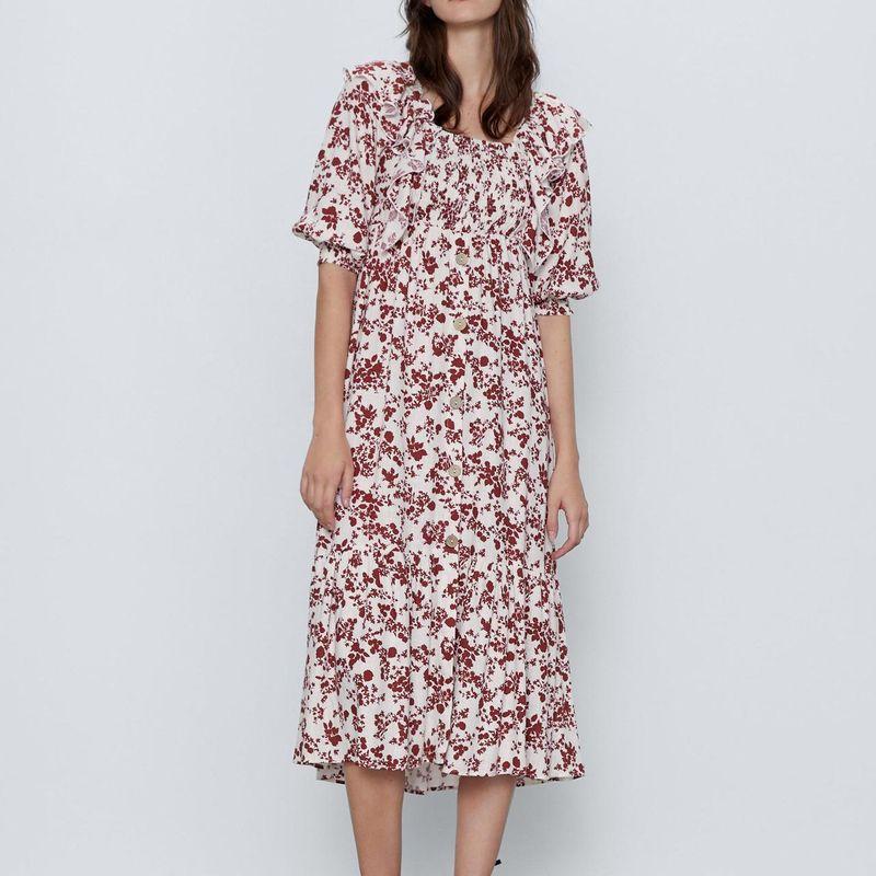Wholesale new ladies printed holiday style dress NHAM203414