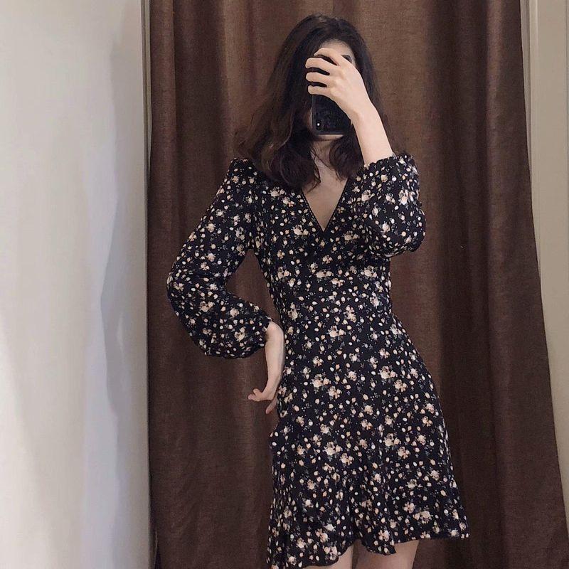 Wholesale Floral Print Slim French Dress V-Neck Short Long Sleeve NHAM203418