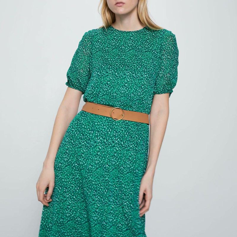 Fashion dress for women wholesale spring belt print dress NHAM203419