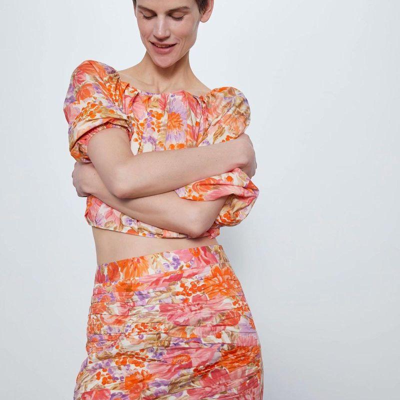 Wholesale Spring Flower Print Mini Skirt Skirt NHAM203438