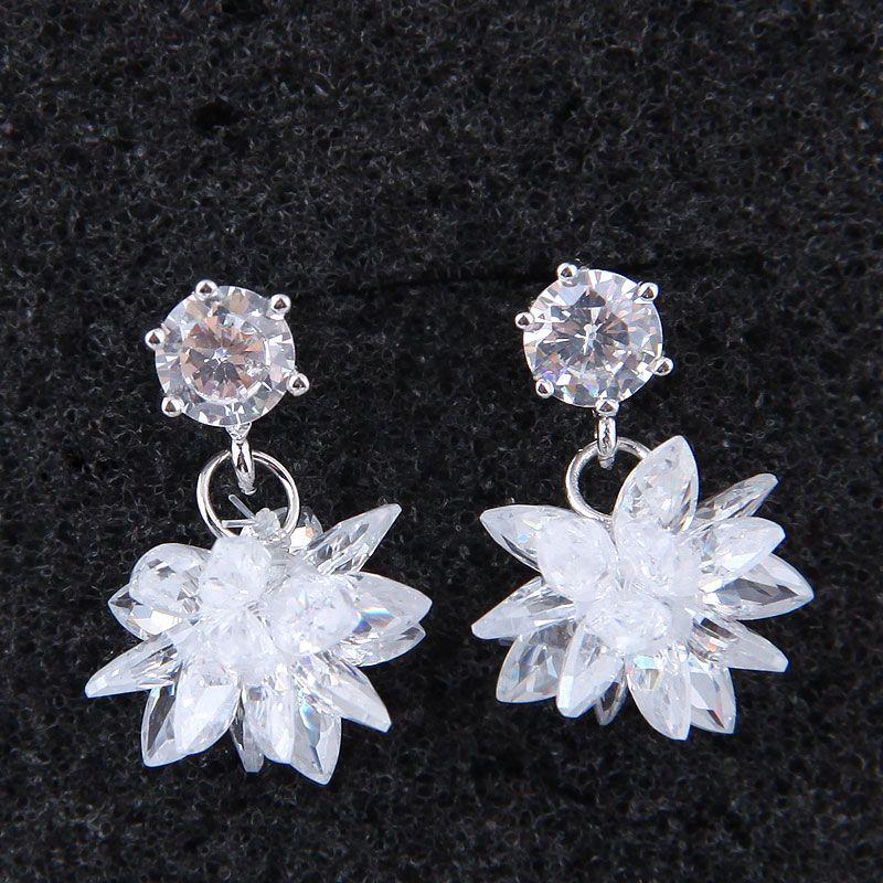 Korean fashion sweet OL ice flower earrings NHSC203771