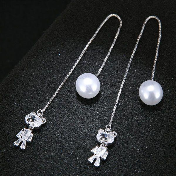 Korean Fashion Sweet OL Cubs Zircon Pearl Earrings NHSC203770