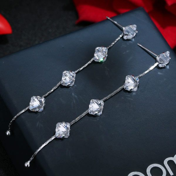 Copper Simple Zircon Earrings Stud Earrings NHSC203769