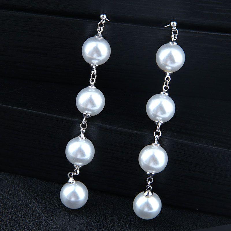 Korean fashion female earrings copper simple and elegant pearl earrings for women NHSC203768
