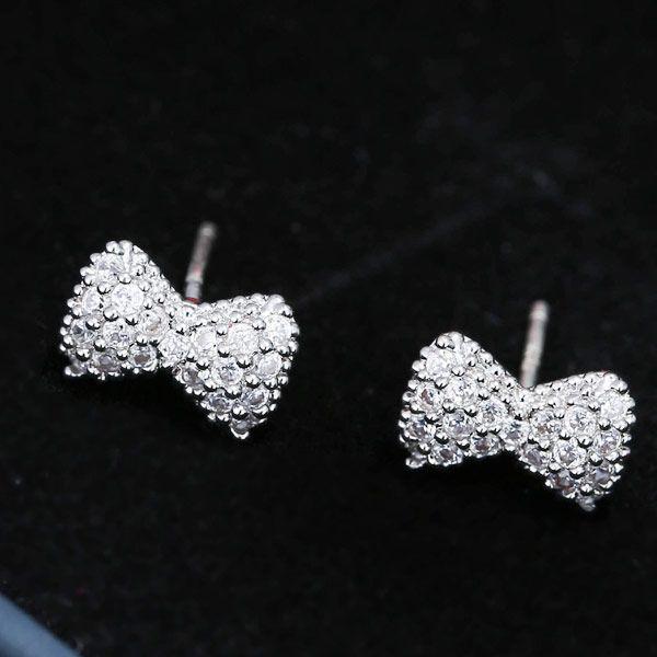 Copper Zircon Bow Temperament Earring Earrings NHSC203767