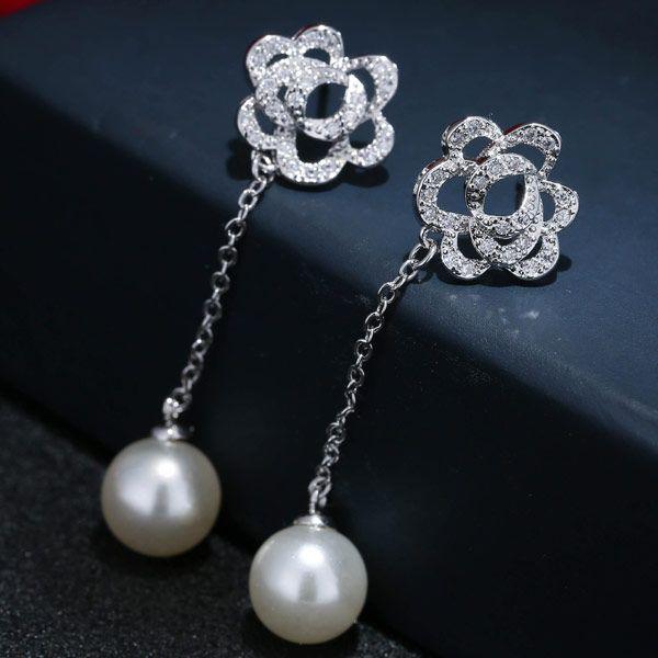 Copper Rose Zircon Pearl Earrings Stud Earrings NHSC203762