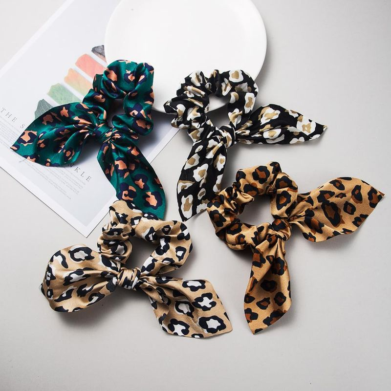 Leopard satin fabric streamer rabbit ears simple cheap hair rope wholesale NHLN203481