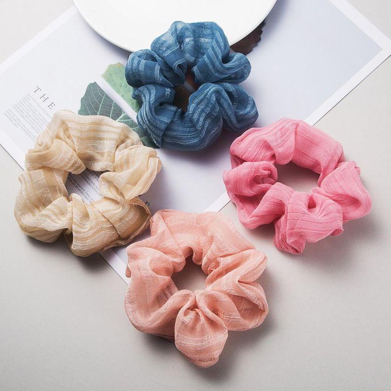Korean chiffon cloth hair ring solid color hair rope fashion wild cheap rubber band women NHLN203482