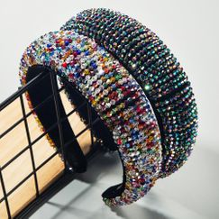 Hair Accessories Luxury Beaded Sponge Fabric with Crystal Wide Edge Hair Band NHLN203485