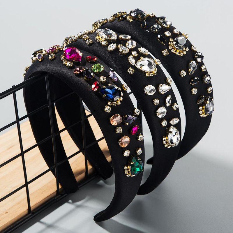 Fashion colorful thin sponge hair hoop ladies gemstone color rhinestone super flash headband NHLN203486