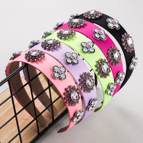 Fashion multicolor cloth rhinestone multilayer glass drill headband NHLN203495's discount tags